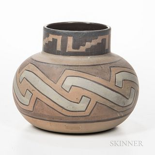 Clifton Art Pottery Indian Ware Vase, Newark, New Jersey, c. 1909, design derived from the Homolobi tribe as indicated on underside, ma
