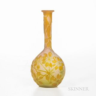 "Gallé French Cameo Glass Vase, France, c. 1900, marked ""Gallé"" on the side, ht. 6 1/2 in.Note: Émile Gallé was a French artist and desi"