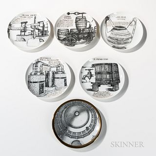 Six Piero Fornasetti (Italian, 1913-1988) Decorative Plates, Milan, Italy, c. 1970, five from a series made for Martini and Rossi depic