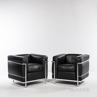Two Le Corbusier (French, 1887-1965) by Cassina LC2 Armchairs, Italy, mid to late 20th century, designed in 1928, first exhibited in 19