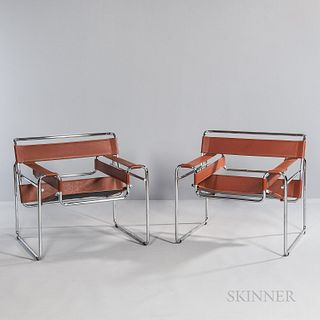 Two Marcel Breuer (Hungarian/American, 1902-1981) by Cassina Wassily Chairs, Italy, c. 1975, designed 1925-26 while he was the head of