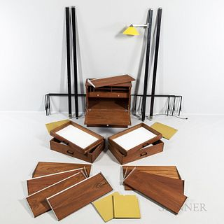 George Nelson (1908-1986) for Herman Miller Comprehensive Storage System (CSS) Wall Furniture, Zeeland, Michigan, c. 1972, walnut and m