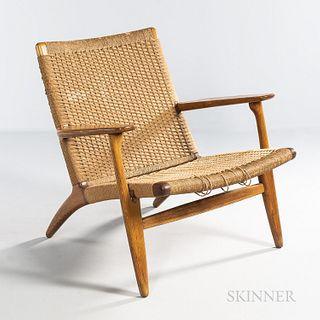 Hans J. Wegner (Danish, 1914-2007) for Carl Hansen Model CH 25 Easy Chair, Denmark, c. 1960, oak, paper cord, maker's brand to undersid