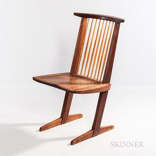 George Nakashima (1905-1990) Conoid Chair, New Hope, Pennsylvania, c. 1969, American black walnut and hickory, spindle back over feathe