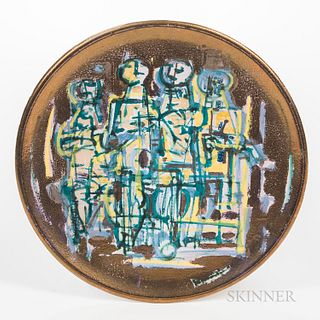 Emilio Scanavino (Italian, 1922-1986) Ceramic Exhibition Plate, likely Albissola Marina, Italy, c. 1952, painted and gold lustre glazed