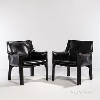 Two Mario Bellini for Cassina Model 414 CAB Lounge Chairs, Italy, late 20th century, welded steel frames, saddle leather, impressed mak