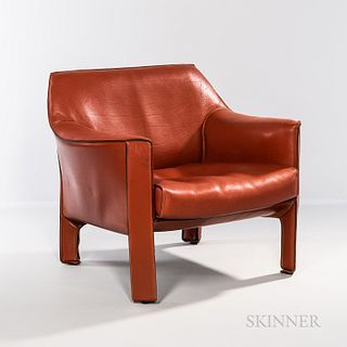"""Mario Bellini for Cassina Model CAB 415 Lounge Chair, Italy, c. 2000, welded steel frames, rust-colored saddle leather, impressed """"Cass"""