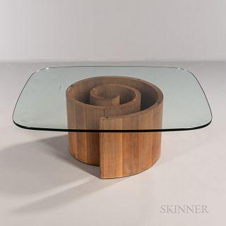 Vladimir Kagan (1927-2016) for Vladimir Kagan Designs Snail Coffee Table, United States, c. 1965, mid-20th century, walnut veneer on pl
