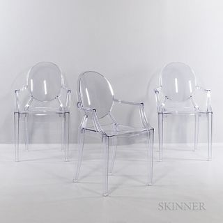 Three Philippe Starck (French, b. 1942) for Kartell Louis Ghost Chairs, Italy, late 20th century, transparent polycarbonate, ht. 37, wd