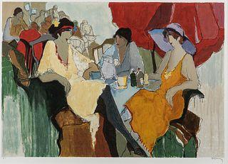 "Itzchak (Isaac) Tarkay (Israeli, 1935-2012) Three Women at a Cafe. Signed ""Tarkay"" in pencil l.r., inscribed ""A.P."" in pencil l.l., wit"
