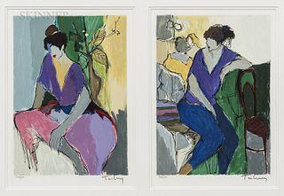 "Itzchak (Isaac) Tarkay (Israeli, 1935-2012) Diptych: Woman in Purple and Pink and Woman in Purple and Blue. Each signed ""Tarkay"" in pen"