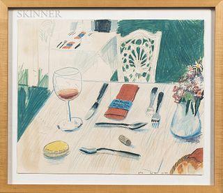 """After David Hockney (British, b. 1937) Menu Cover for Ma Maison Restaurant-Bistro, 1978. Signed """"David Hockney"""" in ink l.l., initialed"""