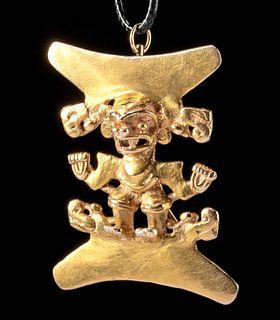 Panamanian Gran Cocle Gold Figural Pendant