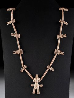 Mixtec Pottery Bead Necklace w/ Figural Beads