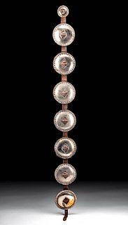 19th C. Navajo Nickel-Brass & Leather Concha Belt