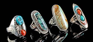 Vintage Native American Silver & Stone Rings (4)