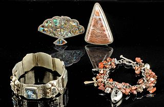 Vintage Mexican Silver, Brass, Stone, & Shell Baubles