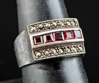 Vintage American Silver & Garnet Ring