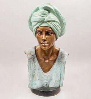 VÍCTOR GUTIÉRREZ Cabeza Carmen Firmada y fechada 88 Fundición en bronce patinado Con certificado de autenticidad 74 x 40 x 43 cm