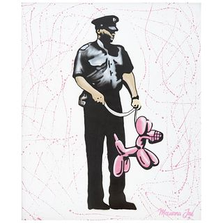 MEXICANA JAIL, Pink police dog, Firmado, Mexicana Jail por el autor, Acrílico sobre MDF, 120 x 100 cm, Con certificado