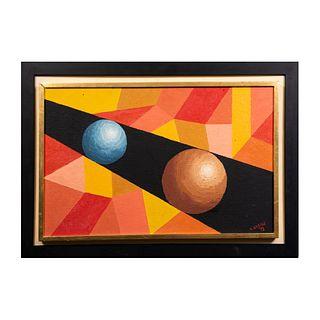J. BERGE. Composición geométrica. Firmada y fechada '73. Óleo sobre fibracel. Enmarcada. 32 x 49 cm.