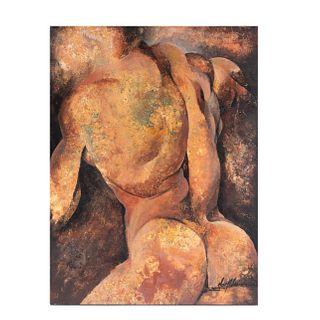 Carlos Aristo. El narciso. Firmado. Acrílico sobre madera. Con etiqueta de la galería Héctor Aristo al anverso.