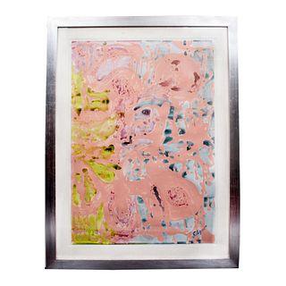 """ELISEO GARZA """"ELGAR"""". Composición en fondo rosa. Óleo sobre papel. Incluye certificado de autenticidad. Enmarcado. 60 x 41 cm"""