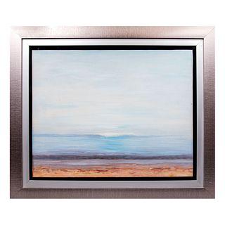 Reproducción de la obra de Piero Guccione. Playa. Óleo sobre lienzo. Enmarcado. 66 x 83 cm.