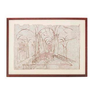 CARMEN PARRA, Sin título, Firmada, Serigrafía sobre papel amate, 3 / 30, 55 x 79 cm