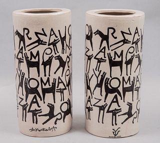 Lote de 2 pantallas para lámpara. Siglo XX. Diseño por GERMÁN MONTALVO para Uriarte Talavera. Firmadas Seriadas 163/195 y 113/195.
