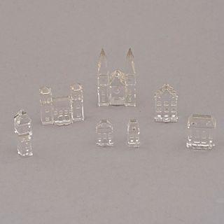 Lote de 5 figuras arquitectónicas decorativas. Austria. Siglo XX. Elaboradas en cristal Swarovski. Con cajas originales. Sellados.