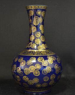 """CHINESE MARKED BLUE & GOLD GIILT 18""""  VASE"""