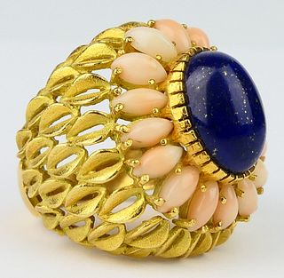 LARGE 14KT Y GOLD CORAL & LAPIS  COCKTAIL RING