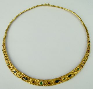 EGYPTIAN REVIVAL 18KT Y GOLD & JEWELED CHOKER