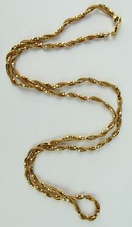 14KT YELLOW GOLD THICK ROPE EUROPEAN NECKLACE