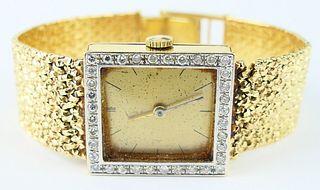 LUCIEN PICCARD 14KT Y GOLD & DIAMOND LADIES WATCH