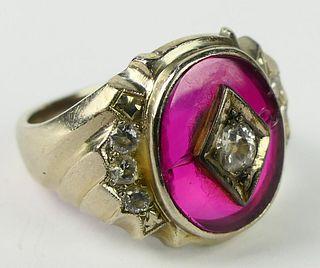 VINTAGE ESTATE GENTS 14KT WG RUBY & DIAMOND RING