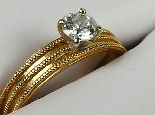 14KT YELLOW GOLD & DIAMOND LADIES ENGAGEMENT RING