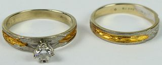 LOVELY 14KT GOLD & DIAMOND WEDDING SET