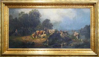 FRIEDRICH LYCK (GERMANY 19th C) LARGE COWS OIL