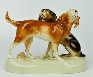 ROYAL DUX CONTEMPORARY PROCELAIN FIGURE HOUND DOGS