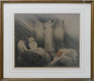 LOUIS ICART (FRANCE 1888-1850) EMBOSSED LITHOGRAPH