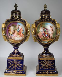 (2) Exceptional Royal Vienna Hand Painted Urns