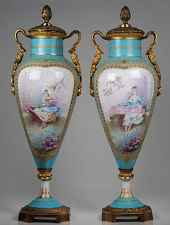 (2) Antique French Porcelain Twin Handled Urns