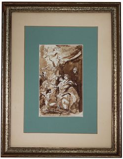 Old Master Flemish School Drawing. Inscribed Verso