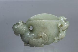 Chinese Carved Jade Figural Libation Cup