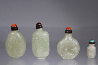 (4) Chinese Carved Jade Snuff Bottles