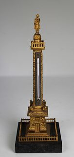 French Bronze Place Vendome/Napoleon Thermometer