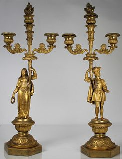 Antique French Figural Gilt Bronze Candelabra