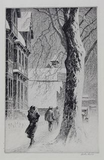 "Martin Lewis (1881-1962) ""Winter on White Street"""